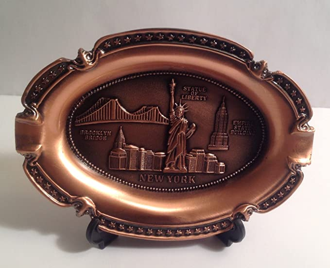 New York Souvenir Metal Plate with Statue of Liberty Manhattan Empire State Building Brooklyn Bridge