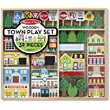 Melissa & Doug Wooden Town Play Set (Vehicles, Wooden Streetscape, Sturdy Wooden Construction, Storage Tray, 32 Pieces…