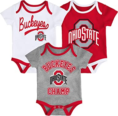 Outerstuff NCAA Newborn /& Infants Ohio State Buckeyes Cutest Fan 3pk Onsie Set