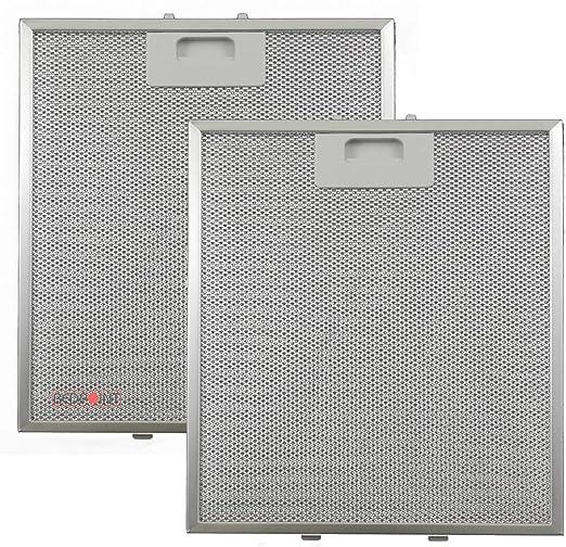 Kit de 2 unidades - Filtros de aluminio para campanas extractoras de 267 x 305 x 9 - Compatible con modelo
