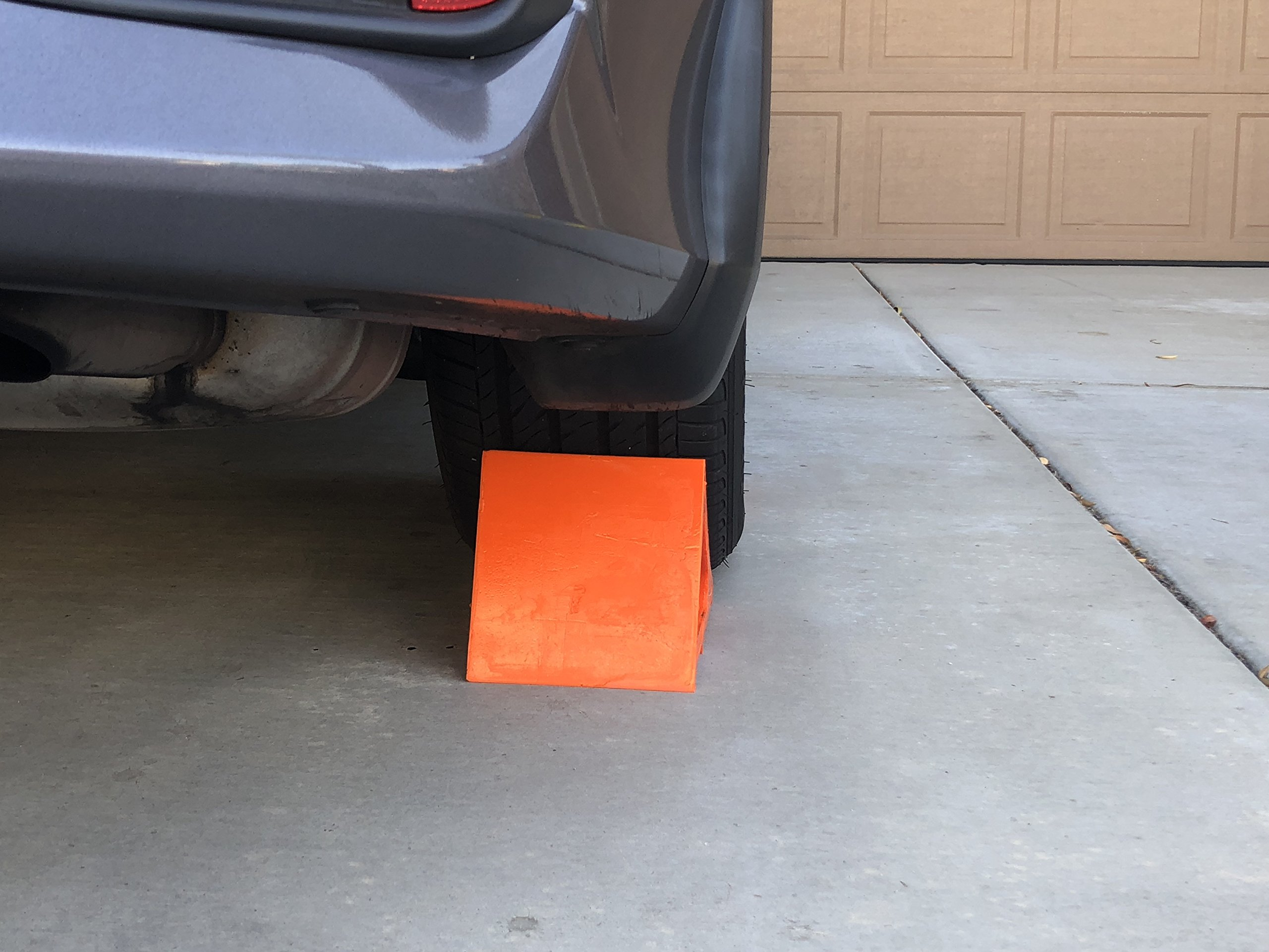 Elasco Wheel Chock, Weatherproof, Outdoor Grade, Polyurethane better than Rubber or Plastic, Keeps Your Trailer or RV In Place, 5 Year Warranty (2 Pack, Orange) by Elasco Products (Image #9)