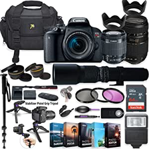Canon EOS Rebel T7i DSLR Camera with 18-55mm Lens, Tamron 70-300mm & 500mm Preset Lens + 5 Photo/Video Editing Software Package & Professional Accessory Kit