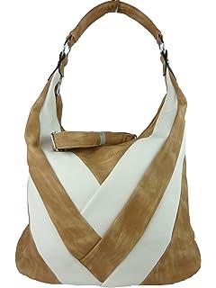 9ea5708c3065c Shopper mit Streifen - große Damen Umhängetasche Schultasche A4 geeignet -  Leder optik - 43 x