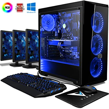 VIBOX Warrior 7W Gaming PC Ordenador de sobremesa con Cupón de Juego, Win 10 Pro, 3X Triple 22