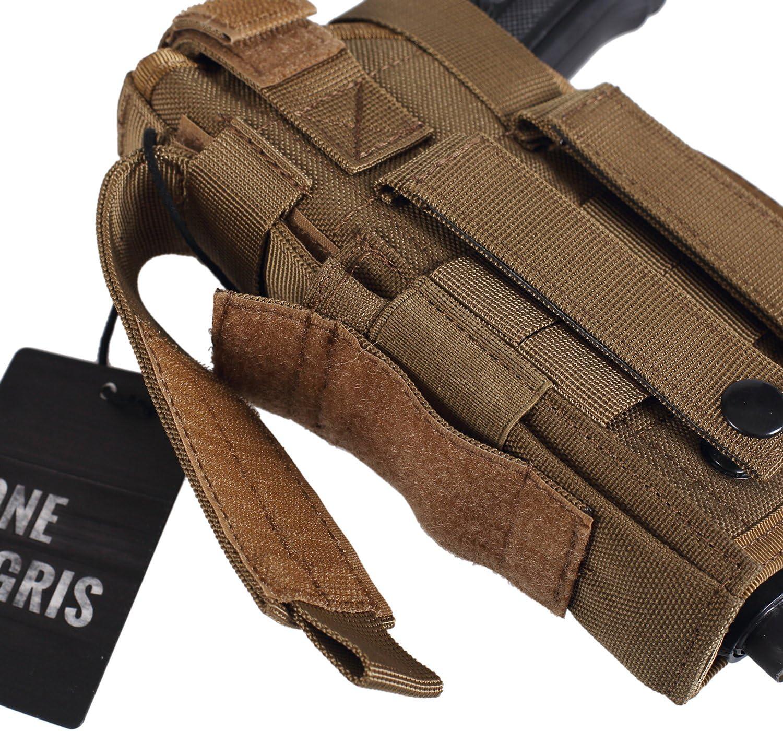OneTigris 1000D Soporte t/áctico Molle de pierna y funda para pistola con bolsillo para munici/ón dise/ñada para tiradores diestros 1911 45 92 96 pistola Glock