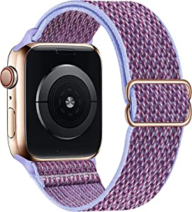 OHCBOOGIE Stretchy Solo Loop Strap Compatible with Apple Watch Bands 38mm 40mm 42mm 44mm ,Adjustable Stretch Braided Sport Elastics Weave Nylon Women Men Wristband Compatible with iWatch Series 6/5/4/3/2/1 SE,Lilac,38/40mm