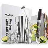 VonShef Coffret Cocktail Boston PREMIUM - Shaker 550ml, Doseur 2 en 1 25ml/50 ml, Agitateur, Pilon en Bois, Passoire à Glaçons