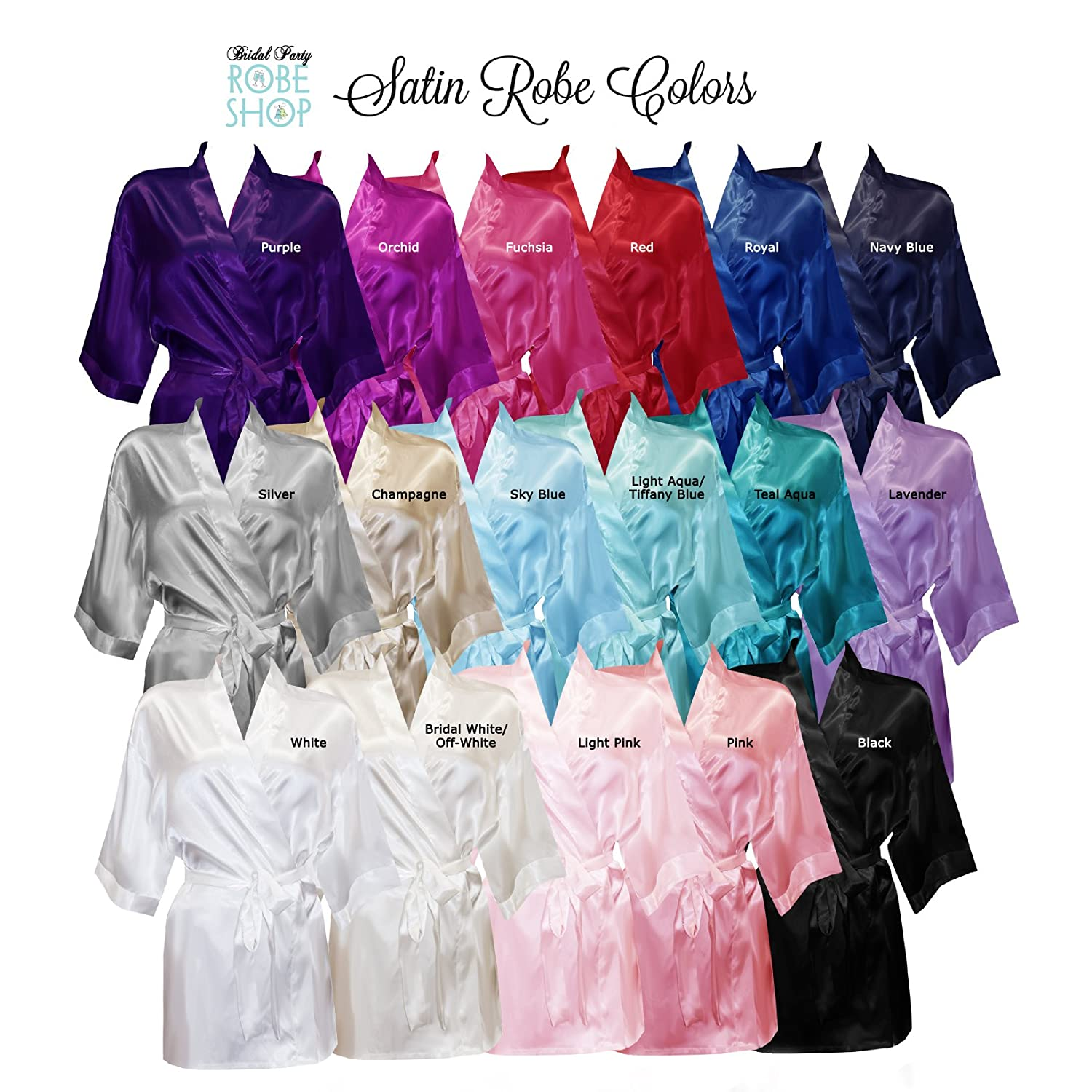 21a9f90a5a Set of 4 Personalized Bridesmaid Satin Robes at Amazon Women s Clothing  store