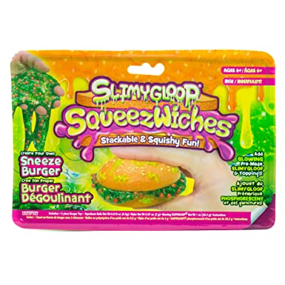 Squeezwiches Squishy Slime Sneeze Burger by Horizon Group USA, Stress Relief Slime Toy, Gooey, Sticky, Stretchy Slime Putty Included, Add Glitter & More, Green: Toys & Games