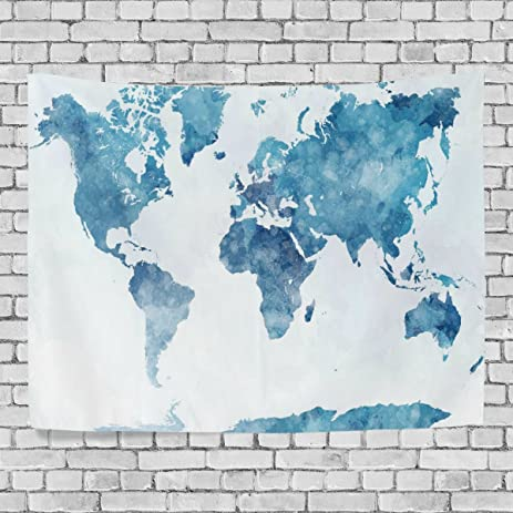 Amazon artpanda blue watercolor world map tapestry abstract artpanda blue watercolor world map tapestry abstract splatter painting wall hanging art for living room bedroom gumiabroncs Choice Image