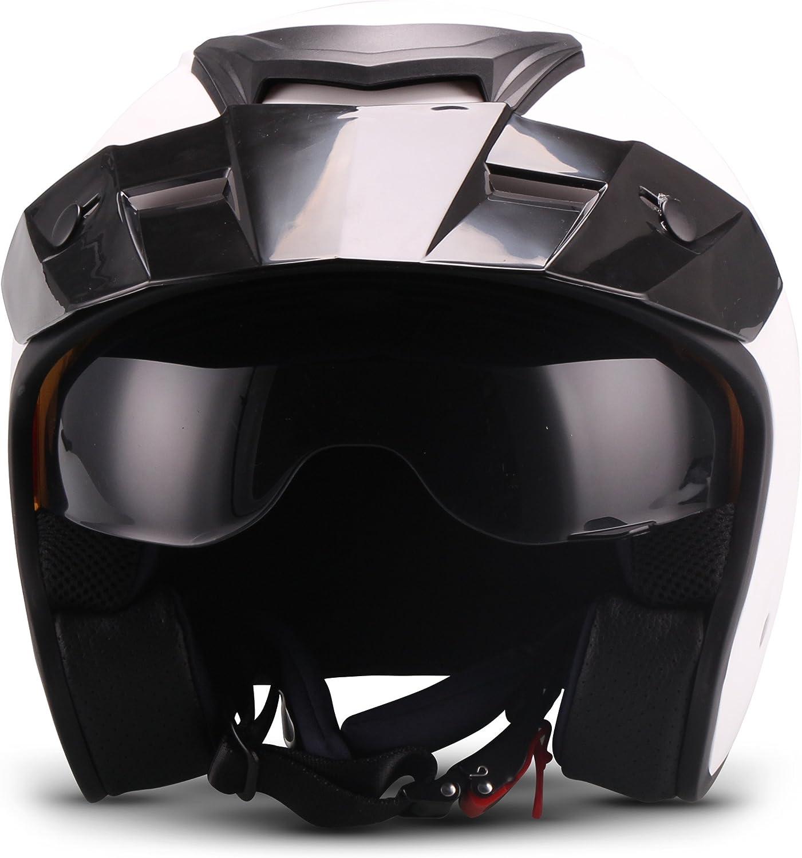 Soxon Shiny Black S77 Casque jet pour moto chopper roller bobber Casque de moto//cyclomoteur avec visi/ère certifi/ée ECE Taille XS /à XL 53-62 cm Coque de casque extra r/éduite