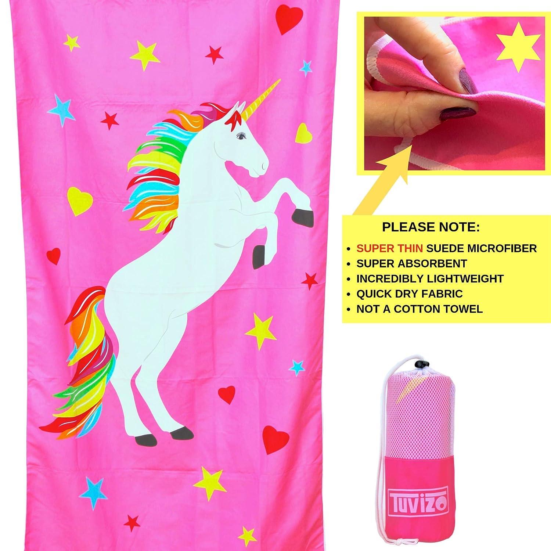Tuvizo Unicorn Toalla de Microfibra para Playa, baño, Piscina y Juego, Unicornio para niñas: Amazon.es: Hogar
