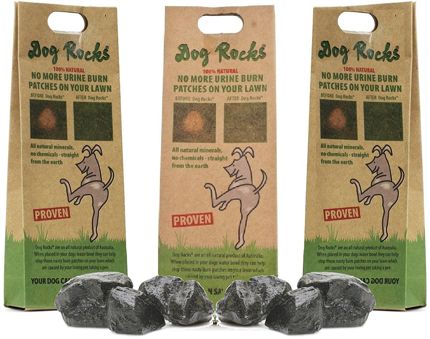 Dog Rocks - 100% Natural Grass Burn Prevention - Prevents Lawn Urine Stains - Three Small Bags - 6 Month Supply by Dog Rocks