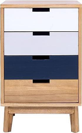 Mobili Rebecca® Cajonera Mesa de Noche Marrón 4 Cajones Estilo Moderno Madera Salón Baño Muebles Hogar (Cod. RE4996): Amazon.es: Hogar