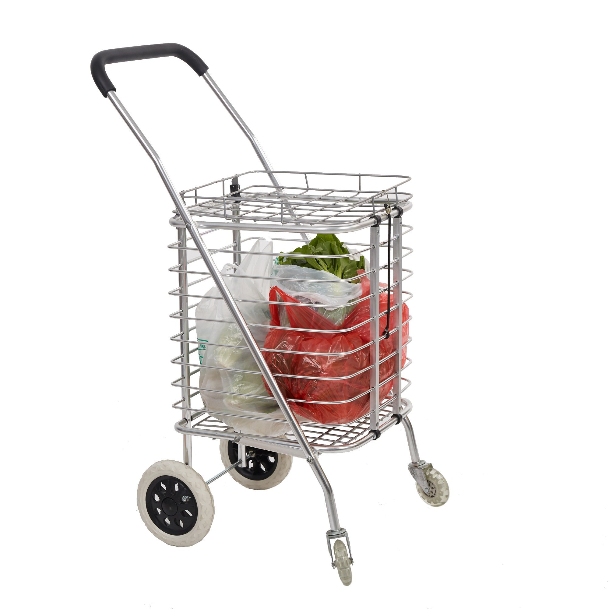 Dporticus Aluminum Grocery Shopping Cart Premium Heavy Duty Deluxe Foldable Utility Cart with wheels and Cover