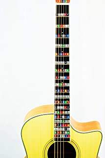 Color Coded Stickers Numbered Neck Notes Set of 2 Learn Guitar and Music Theory Suitable for