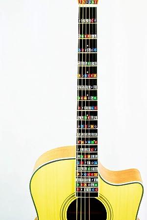 Pegatinas para tabla de trastes de guitarra, calcomanías de notas, paquete de 2,
