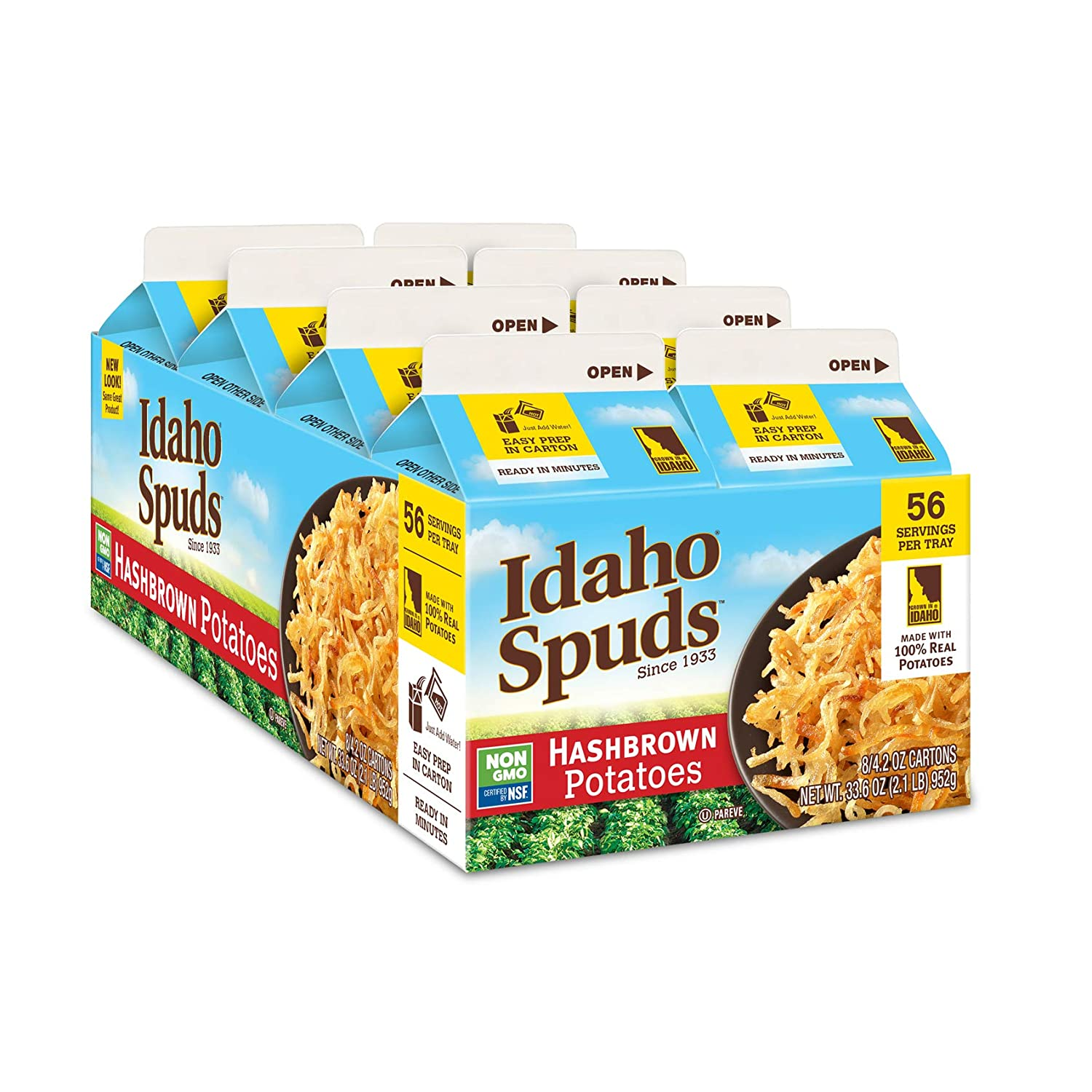 Idaho Spuds Premium Hashbrown Potatoes 4.2 oz, 8 Pack, Made from 100 Potatoes No Artificial Colors or Flavors NonGMO Certified Gluten Free Koshe, 33.6 Ounce