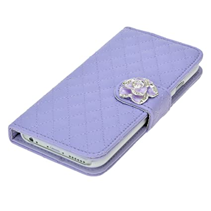 Amazon Com Luxury Grid Wallet Stand Flip Pu Leather Cover Case For