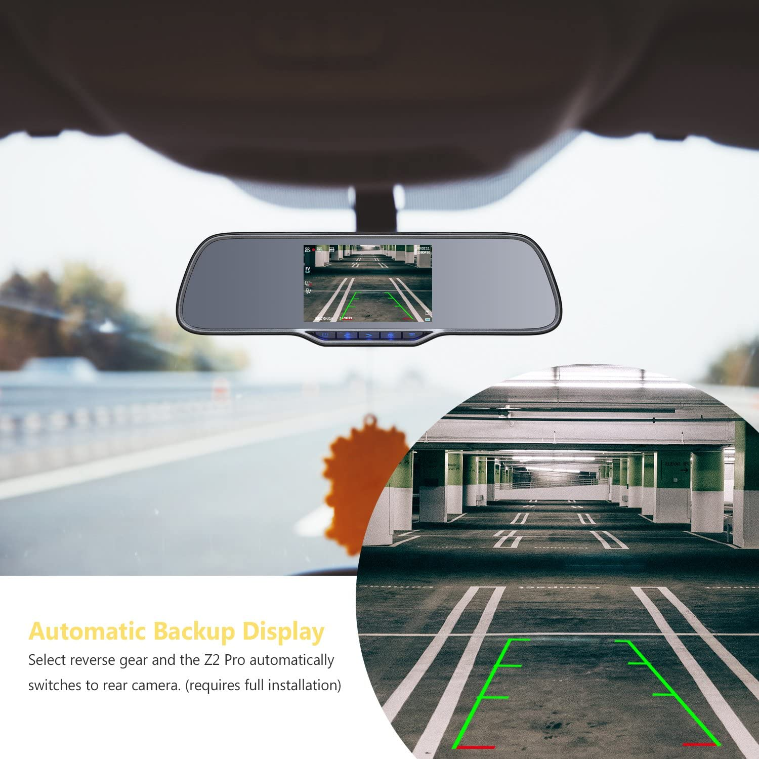 Front and Rear Dash Cam Backup Camera with 150 Degree Viewing Angle 2K Ultra HD 2160P Front /& 1080P Rear 5.0 Ultra Clear IPS Rearview Mirror WDR Z-EDGE Z2Pro Dual Dash Cam 16GB Card Included