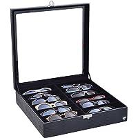 Porta-Óculos Total Luxo Couro Ecológico Preto Preto 12 Divisórias