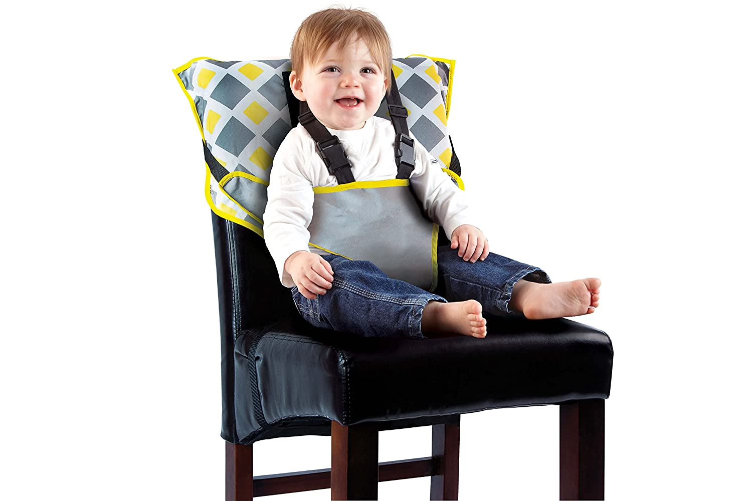 Cozy Cover Easy Seat Portable High Chair (Charcoal/Yellow) - Quick, Easy, Convenient Cloth Travel High Chair Fits in Your Hand Bag So That You Can Have It With You Everywhere For a Happier, Safer Infant/Toddler 9006