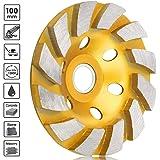 "Sunjoyco 4"" Diamond Cup Grinding Wheel, 12-Segment Heavy Duty Turbo Row Concrete Grinding Wheel Disc for Angle Grinder, for Granite, Stone, Marble, Masonry, Concrete"