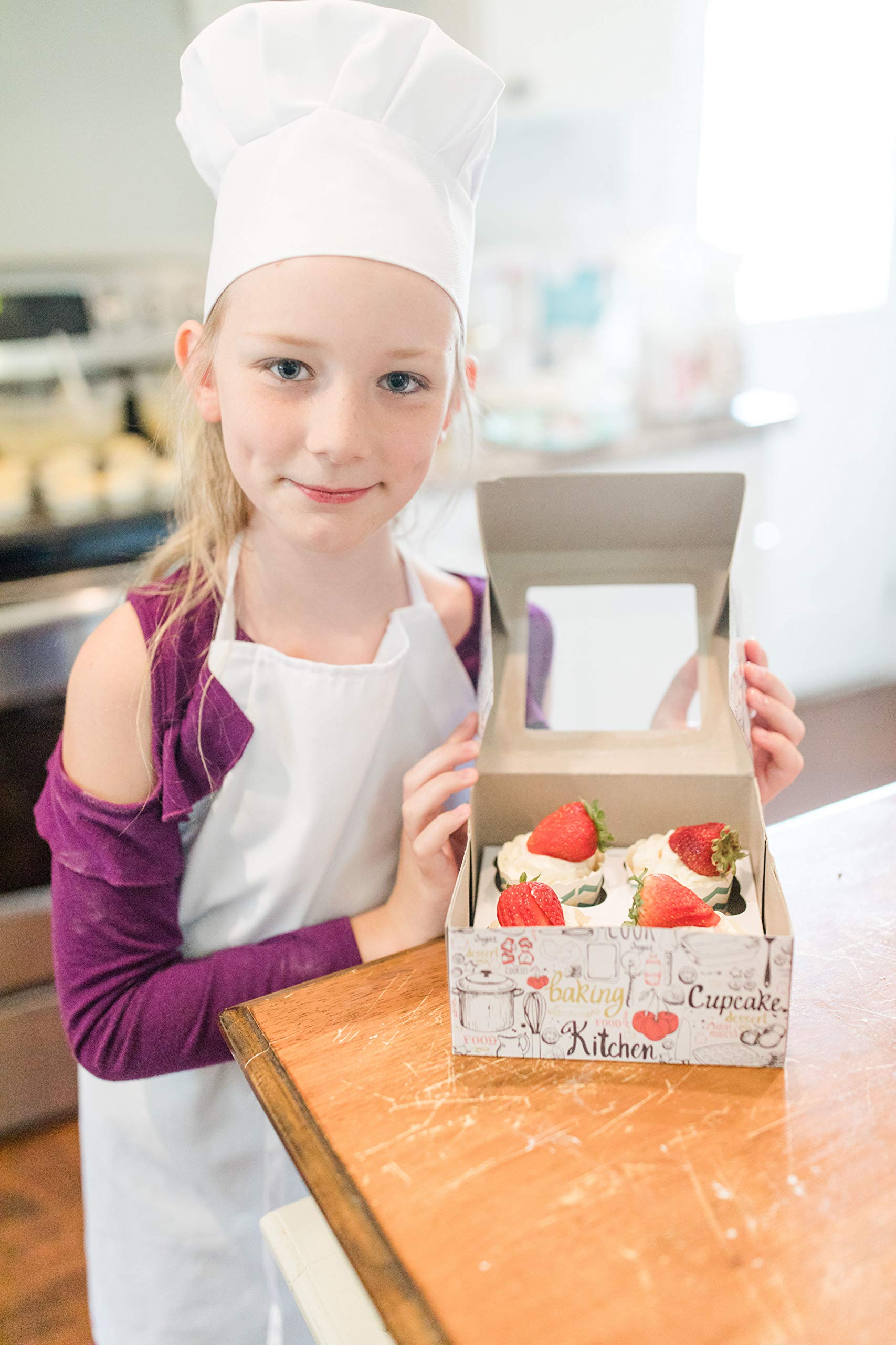 Tessa's Kitchen Kids -Child's Chef Hat Apron Set, Kids Size, Children's Kitchen Cooking and Baking Wear Kit for those Chefs in Training, Size (S 2-5 Year, Black) by Odelia (Image #4)