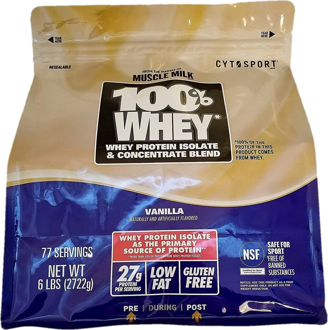Cytosport 100 Whey Protein Powder, Vanilla, 6 Lb. Bag From the Makers of Muscle Milk