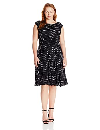 Tahari By Arthur S Levine Plus Size Cap Sleeve Polka Dot Dress