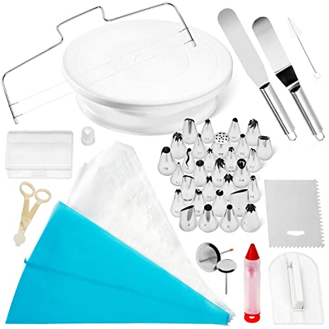 Cake Decorating Supplies Baking Supplies – 64 Piece Complete Cake  Decorating Kit – Rotating Cake Stand, Piping Bags, Numbered Piping Tips,  Tip Chart & ...