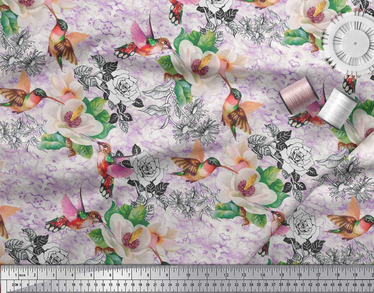 Soimoi Gray Cotton Cambric Fabric Leaves,Hummingbird /& Magnolia Flower Printed Craft Fabric BTY 42 Inch Wide