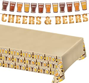 Beer Party Supplies and Beer Theme Decorations (Wood Grain Letter Banner, Pint Glass Beer Garland, and Plastic Table Cover)