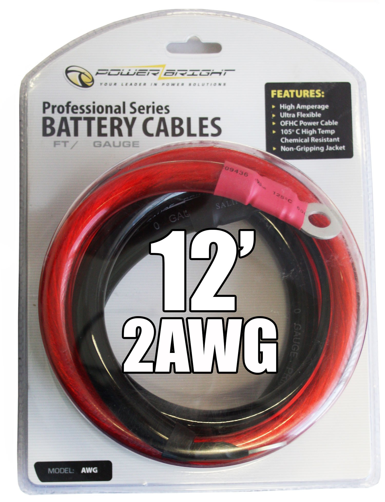 Power Bright 2-AWG12 2 AWG Gauge 12-Foot Professional Series Inverter Cables 2000-2500 watt by PowerBright