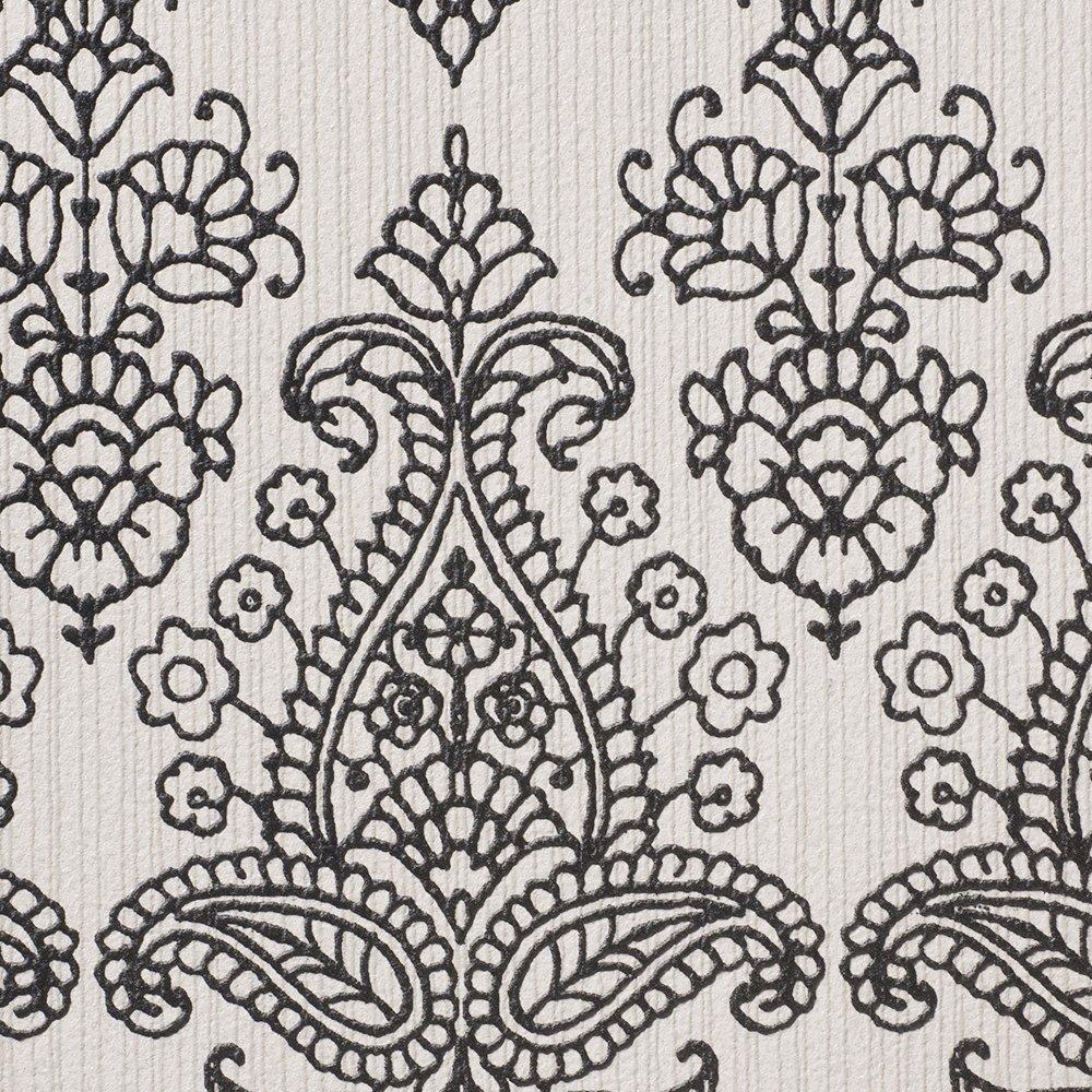 ルノン 壁紙34m フェミニン ダマスク グレー デザインパターン RH-9419 B01HU3RG7E 34m|グレー