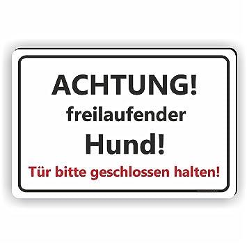 Hier Bitte Nicht-aluminium-edelstahl-optik-schild-15 X 10cm-warnschild-hund-top Hunde Außen- & Türdekoration