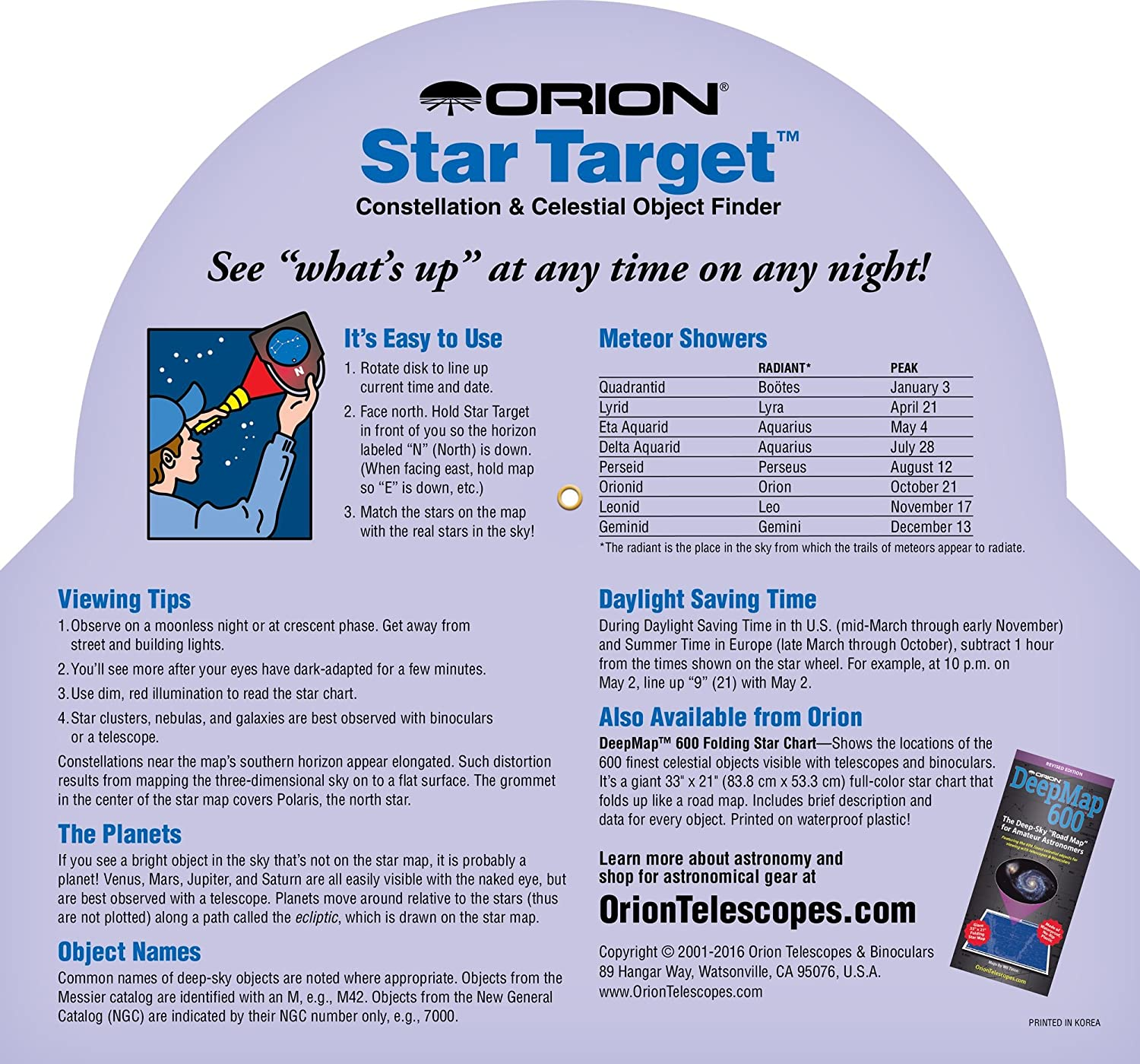 Orion Star Target Planisphere 40 60 Degree Amazon Co Uk Camera
