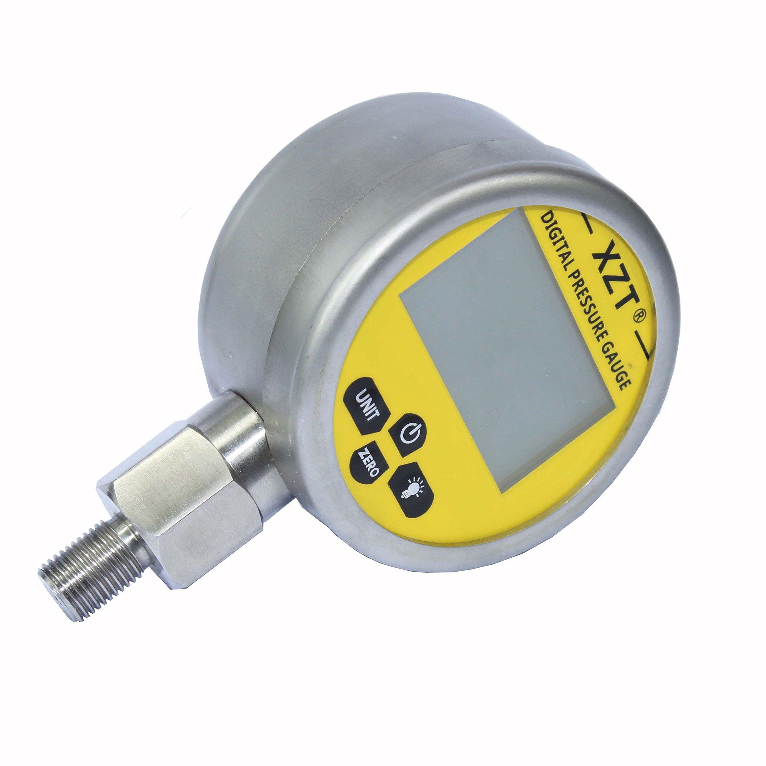 XZT Digital Hydraulic Pressure Gauge 3.15'' 0~6000PSI -1/4BSP-Base Entry