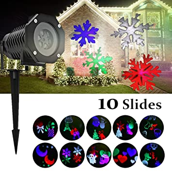 amazon com christmas projection lights with 10 rotating multicolor