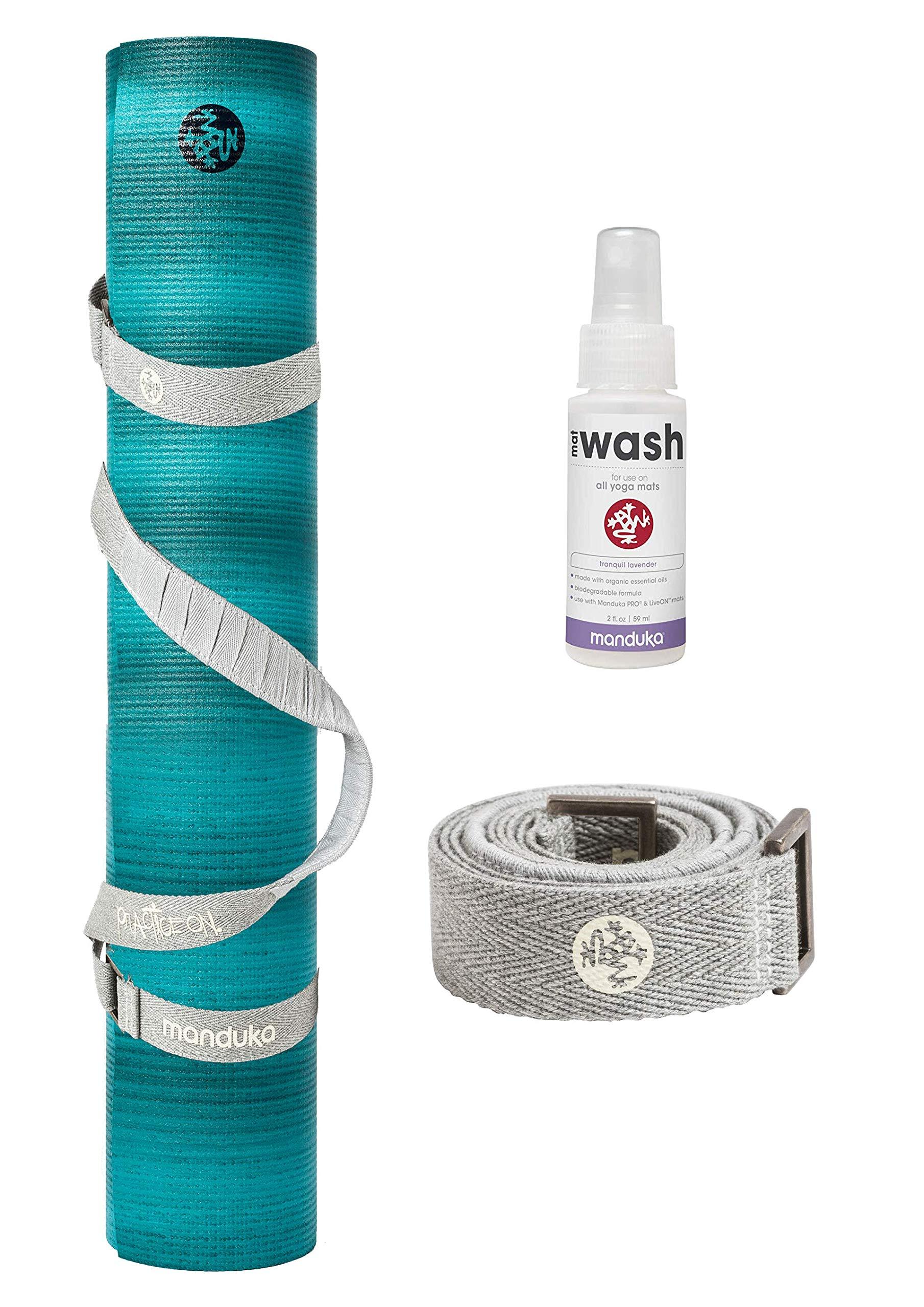 PlayBetter Manduka PRO Yoga and Pilates Mat Bundle | Includes Manduka Yoga Mat Strap & Lavender Mat Wash (Waterfall, Standard (71''))