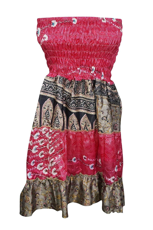 245f3f83ee2bf Women's Boho Skirt Pink Patchwork High Waist Silk Sari Hippie Chic S ...