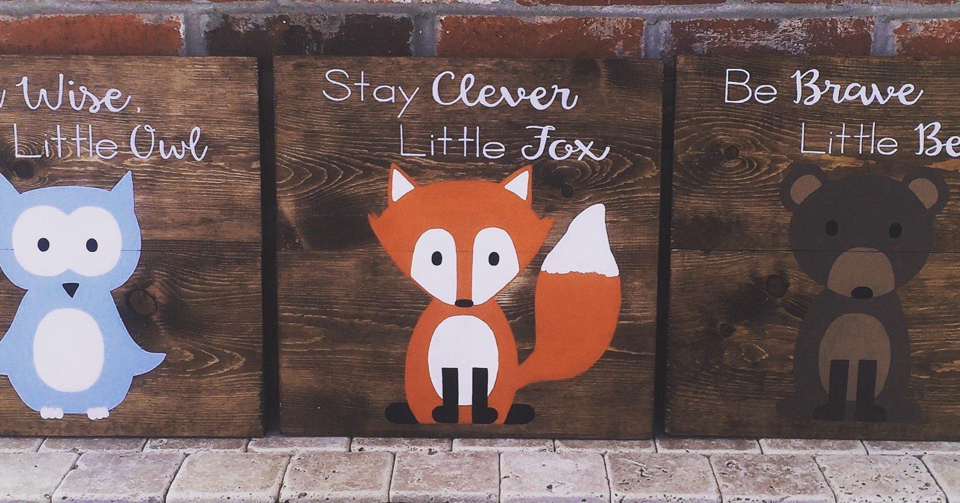 14x14 Set of 3 Woodland Animal Nursery Signs Nursery Decor Baby Shower Gift or Baby Decor Clever little fox nursery accessories
