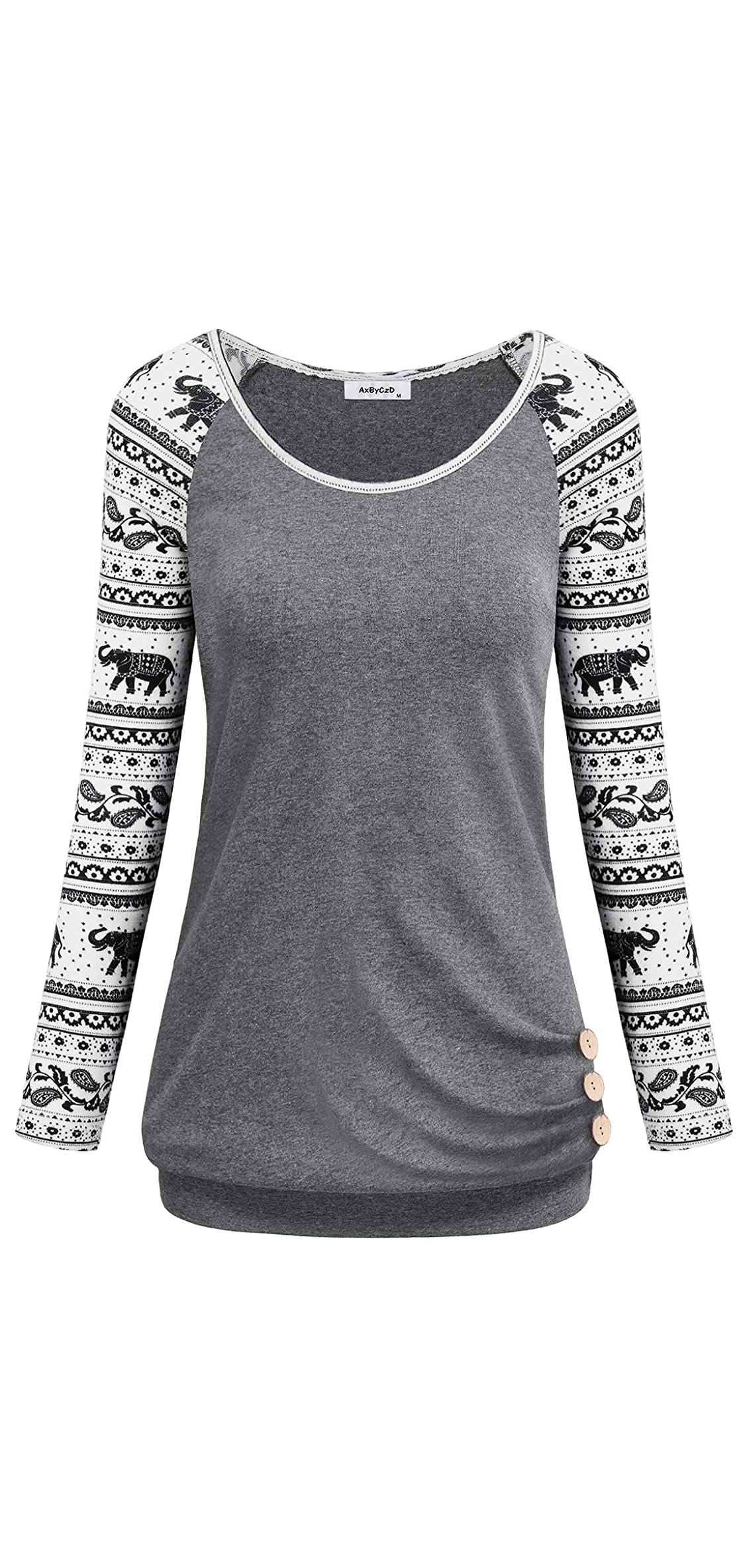 Women's Long Raglan Sleeve Round Neck Elephant Printed