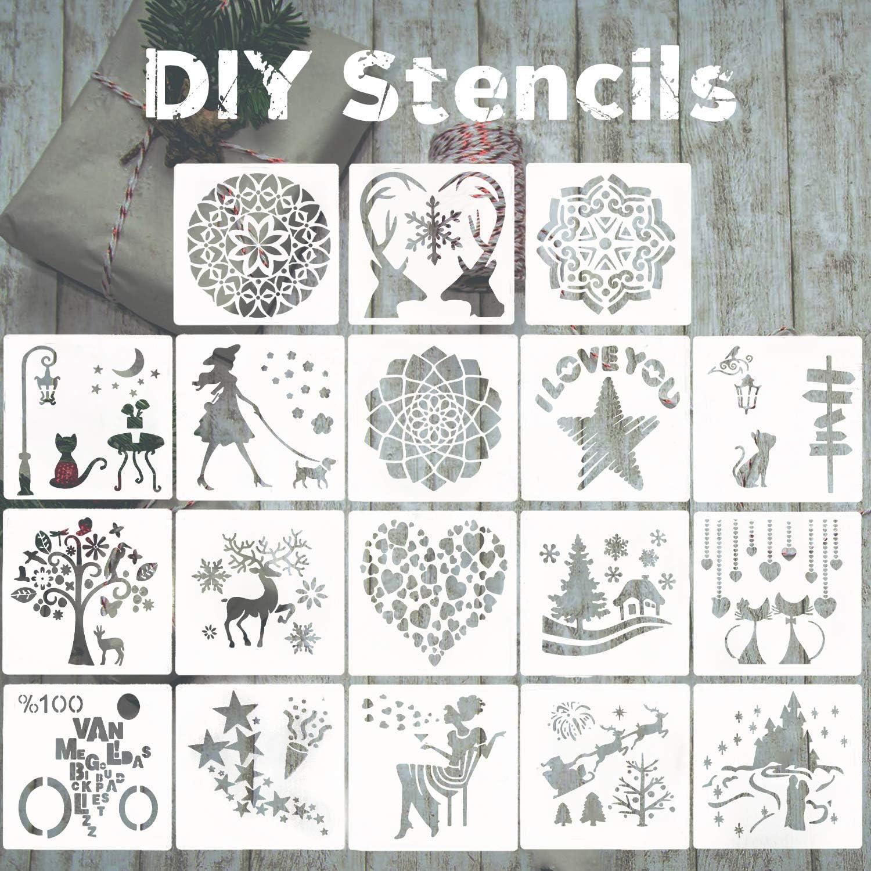 18Pcs Journal Stencil Set Plastic Planner DIY Drawing Template Diary