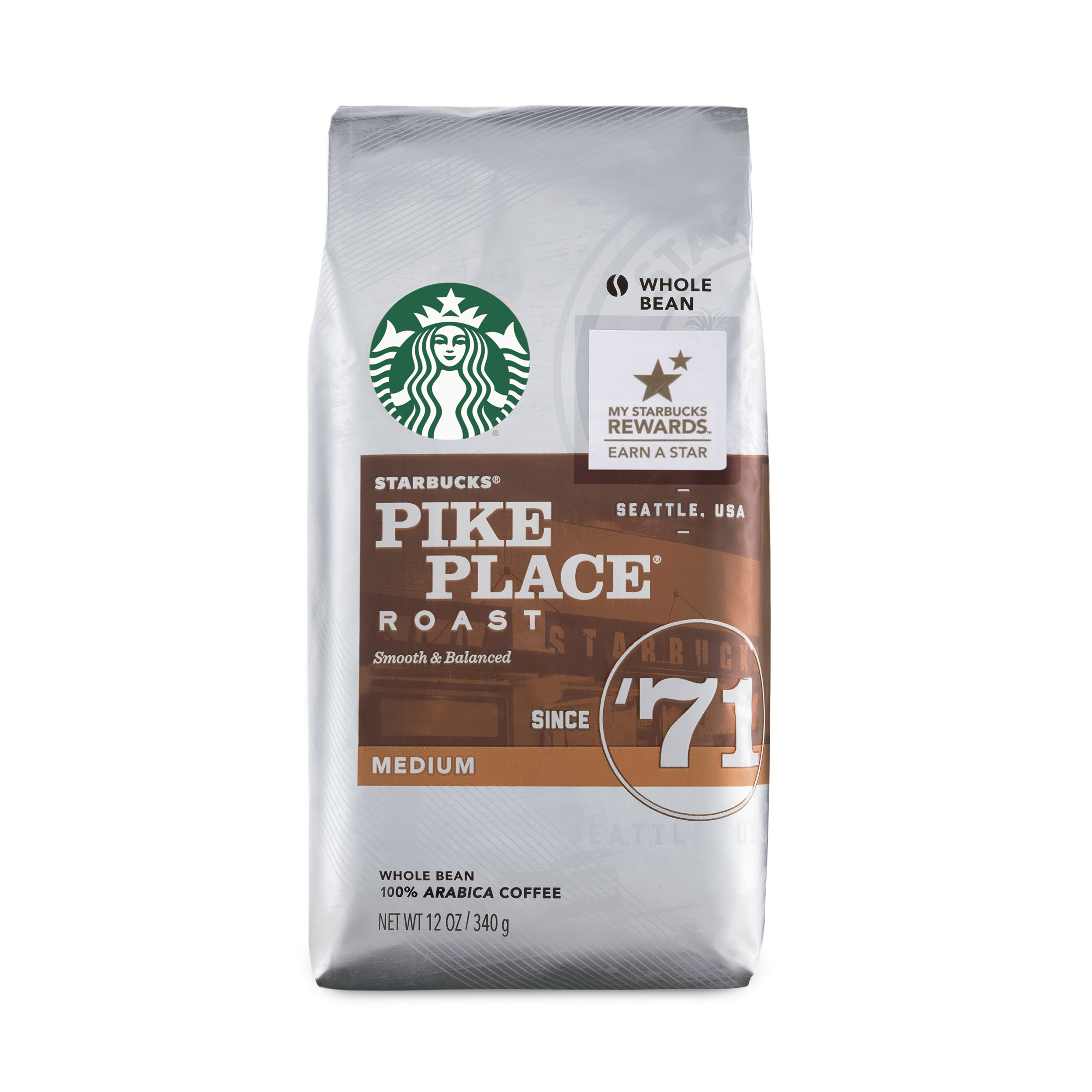 Starbucks Pike Place Roast Coffee Medium Roast Whole Bean Coffee, 12-Ounce Bag (Pack of 6) by Starbucks