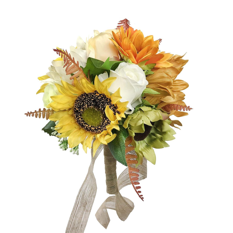 Amazoncom Dalamoda Roses Sunflower Bouquet Artificial Silk