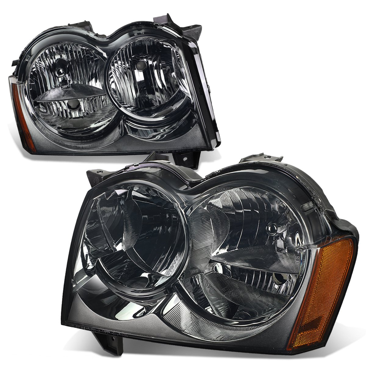 Jeep Grand Cherokee Wk 3rd Gen Pair Of Smoked Lens Amber Corner Headlight by Auto Dynasty