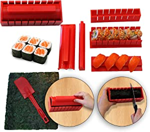 RenGard Sushi Making Kit Deluxe Edition with Complete Sushi Set and Knife – 11 Piece Sushi DIY Set for Maki Rolls – Home Sushi Tool – Easy Sushi Rolls