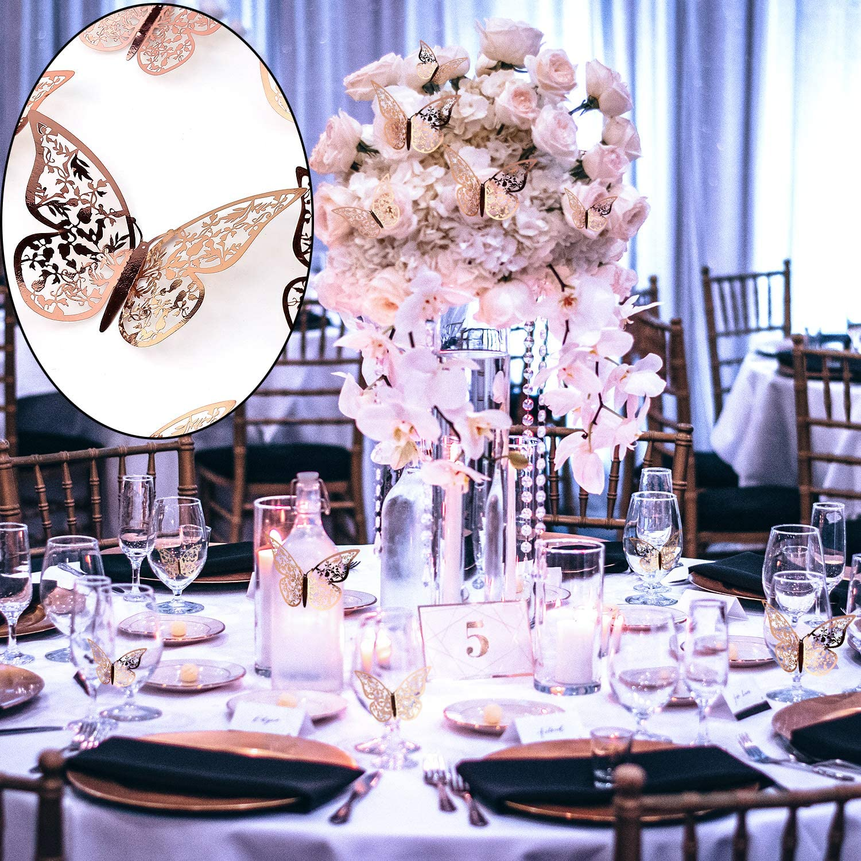 Or Rose AIEX 24pcs Autocollants Papillon 3d 3 Tailles D/écalcomanies Murales D/écoration Murale De Chambre Pour Chambre F/ête Mariage