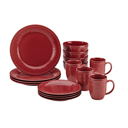 Rachael Ray Cucina 16-Piece Stoneware Dinnerware Set Cranberry Red  sc 1 st  Amazon.com : red stoneware dinnerware sets - pezcame.com